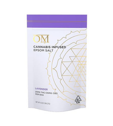 OM Body - Lavender Bath Salt (Approx. 25mg THC + 25mg CBD)