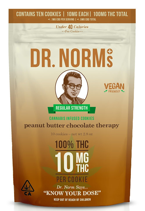 Dr. Norm's - Peanut Butter Chocolate Therapy - 10 Cookies (100mg THC)
