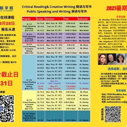 Critical Reading & Creative Writing, Public Speaking & Writing