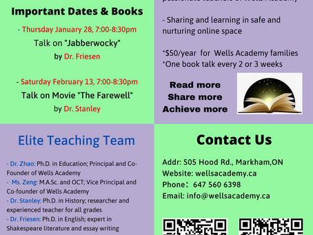 Wells Academy Book Club Events
