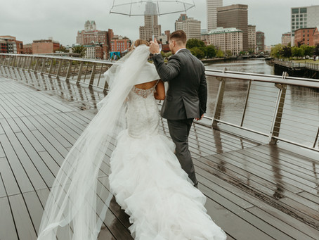 Wedding in the city-  Providence celebration featuring the skyline and a gondola ride