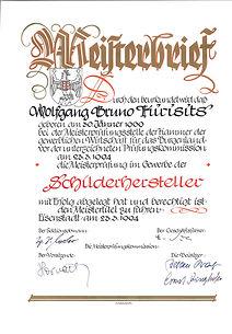 Meisterbrief - Schilderhersteller - WK.j