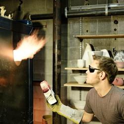 Me firing a kiln.