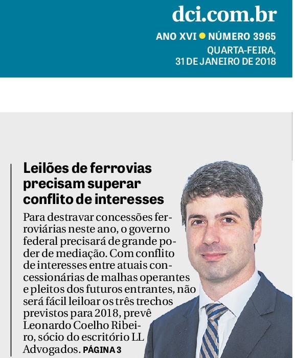 Foto de Leonardo Coelho Ribeiro na primeira página do jornal DCI