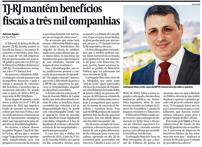 Olavo Leite, sócio de LL Advogados, em entrevista ao Valor Econômico