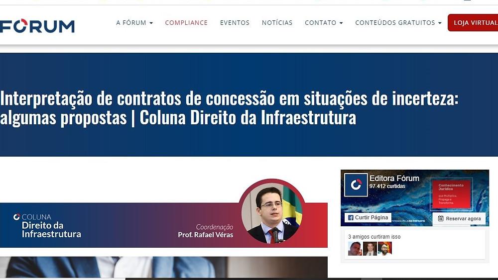 Coluna Direito da Infraestrutura mantida por Rafael Véras no site da Editora Fórum