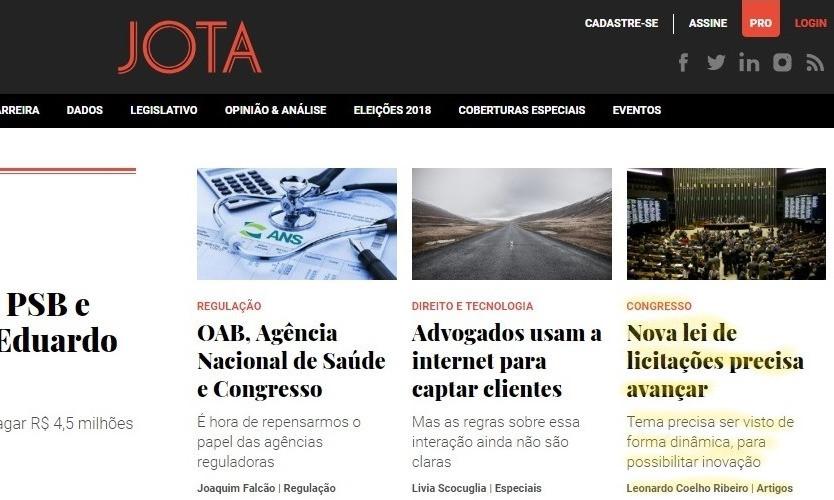 Home-page do Jota com chamada para artigo de Leonardo Coelho, sócio de LL Advogados
