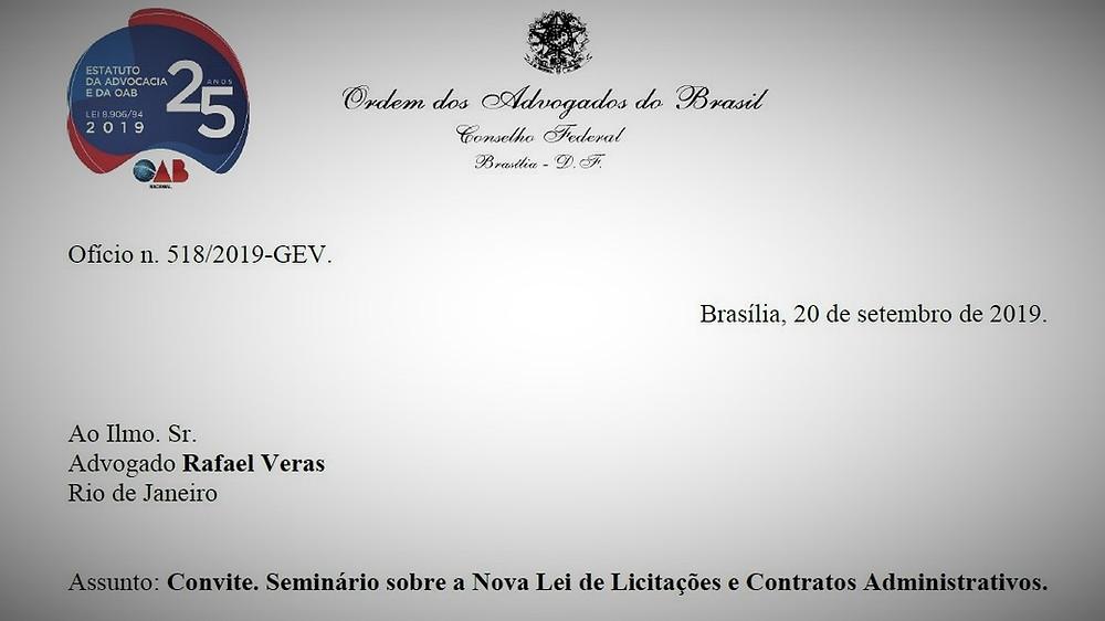 Convite do presidente da OAB Nacional para Rafael Véras, sócio de LL Advogados