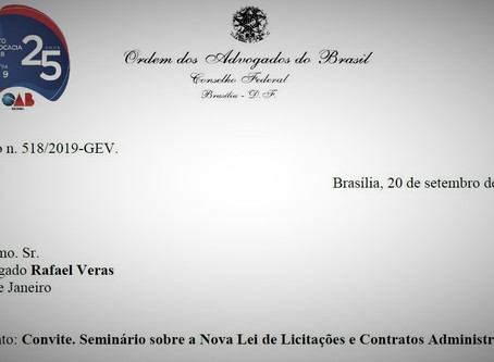 Sócio de LL Advogados é convidado pelo presidente da OAB a palestrar em seminário de licitações
