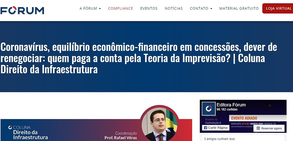 Coronavírus e concessões: coluna Direito da Infraestrutura, publicada por Rafael Véras, no site da Editora Fórum