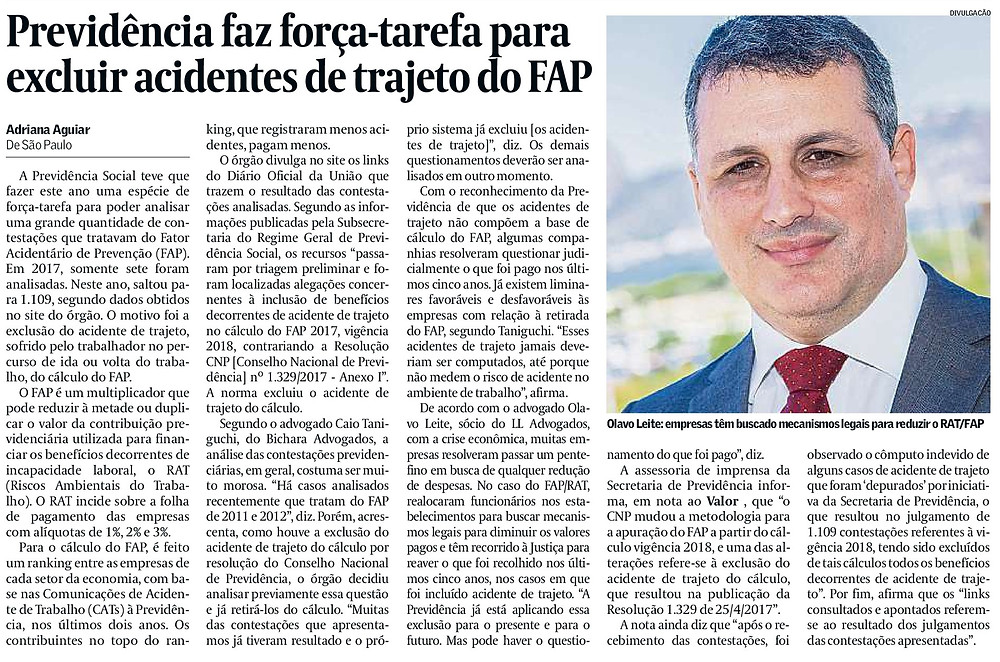 Página do jornal Valor Econômico com foto do sócio de LL Advogados Olavo Ferreira Leite Neto