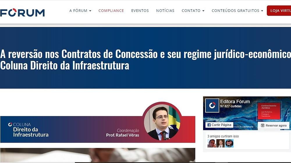"""Rafael Véras publica no site da Editora Fórum """"A reversão nos Contratos de Concessão e seu regime jurídico-econômico"""""""