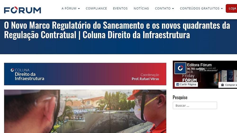 Direito da Infraestrutura: O Novo Marco Regulatório do Saneamento e os novos quadrantes da Regulação Contratual