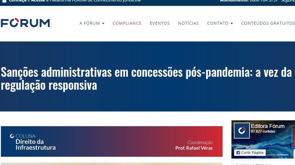 Coluna Direito da Infraestrutura no site da Editora Fórum