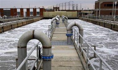 Estação de tratamento de águas e esgoto - saneamento