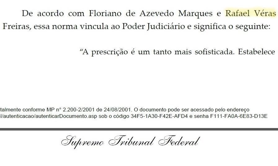 Trecho de decisão do STF que cita o advogado Rafael Véras