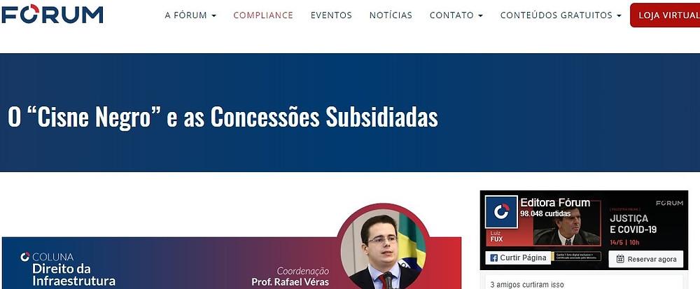 Coluna Direito da Infraestrutura, mantida pelo sócio de LL Advogados Rafael Véras, no site da Editora Fórum
