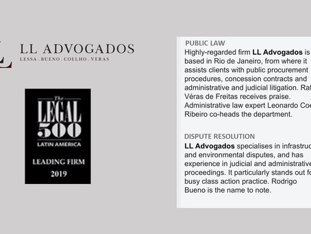 LL Advogados é reconhecido na The Legal 500 2019