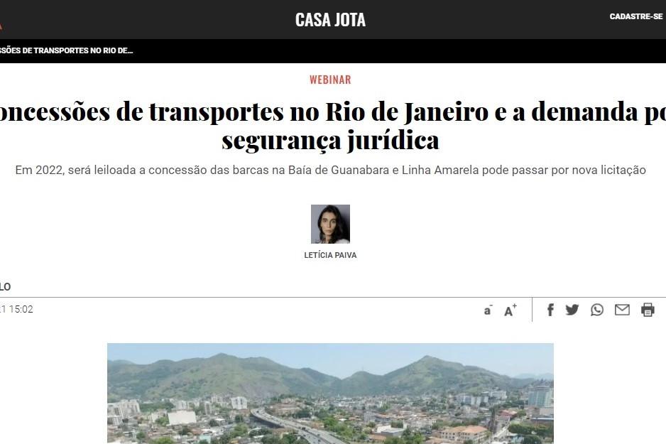 Jota noticia participação de sócio do LL Advogados em debate sobre segurança jurídica nas concessões