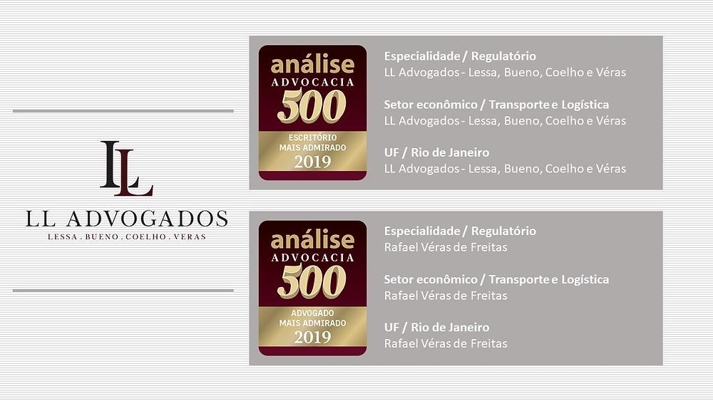 Selos Análise 500 2019 de escritório e advogado mais admirado