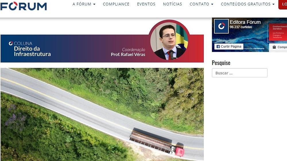 Coluna Direito da Infraestrutura de janeiro de 2021, escrita por Rafael Véras no site da Editora Fórum