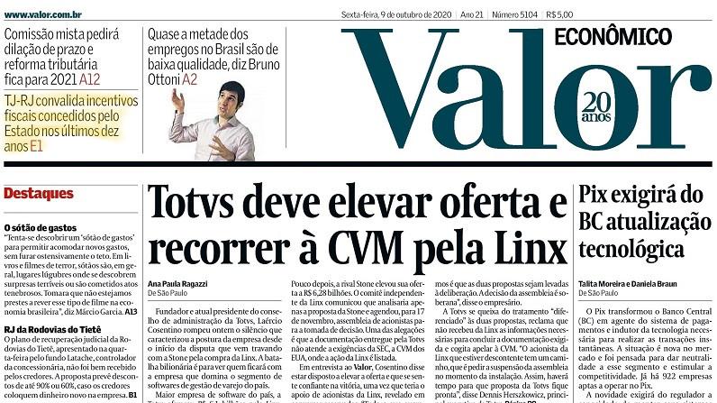 Primeira página do jornal Valor Econômico de hoje com chamada para reportagem com Olavo Leite, de LL Advogados