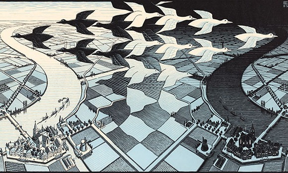 Day and Night, 1938, Woodcut - Escher