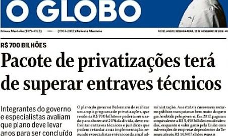 Reportagem de O Globo sobre privatizações com entrevista com consultor de LL Advogados