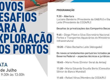 Com leilões de mais de R$ 1 bilhão, setor de portos se reúne para debate na OAB-RJ
