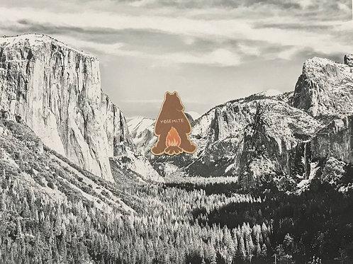 Yosemite Camp Fire Bear Mini Wood Sticker