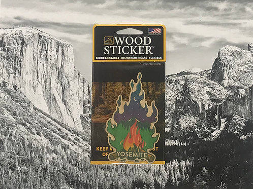 Yosemite Camp Fire Wood Sticker