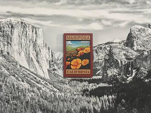Mariposa, California Poppy 2D Wood Magnet