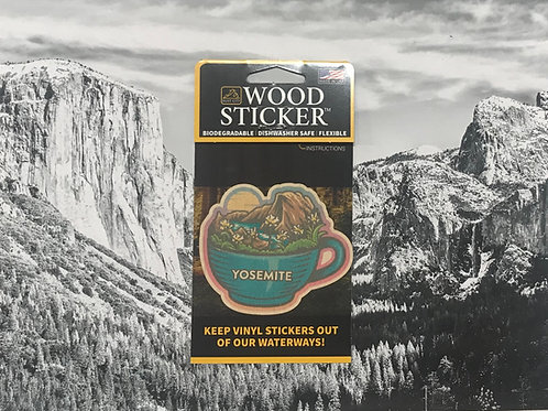 Yosemite Cup of Coffee Wood Sticker