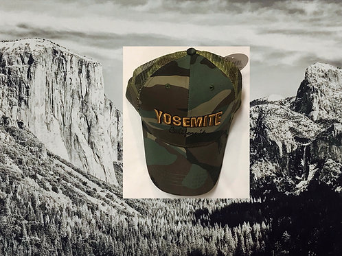 Yosemite Gold Lettering Army Baseball Cap