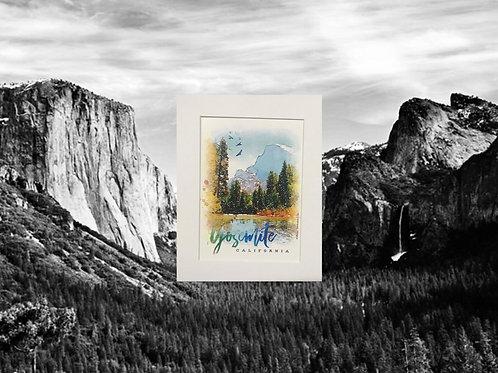Yosemite Valley Water Color Print