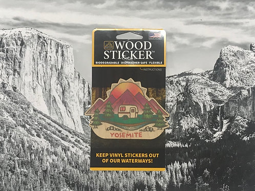 Yosemite Camping Wood Sticker