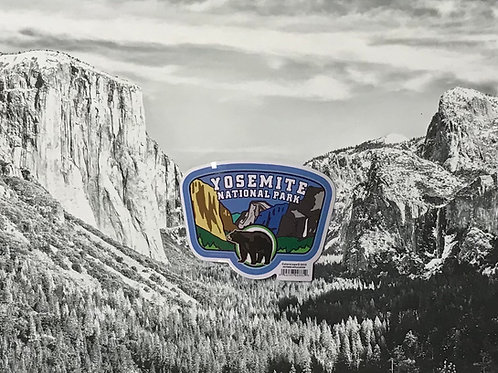 Yosemite Valley with Bear Small Sticker