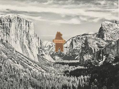 Yosemite Standing Bear Mini Wood Sticker