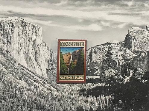 Yosemite Water Fall 2D Wood Magnet