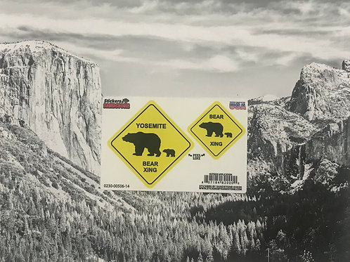 Yosemite Bear Xin g Sign 2 Stickers