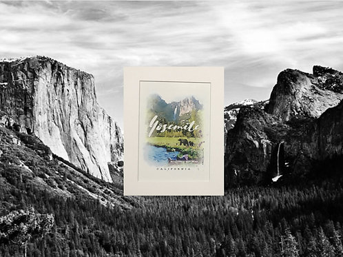 Yosemite Valley with 2 Bears Print