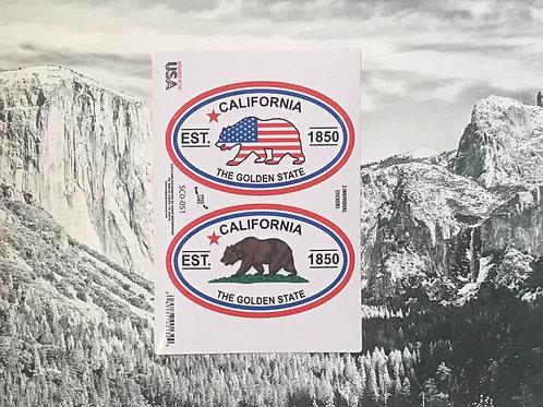 California Golden State 2 Bear Stickers