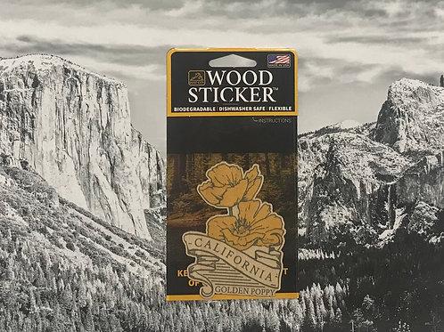 California Golden Poppy Wood Sticker