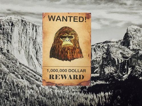 BigFoot Wanted Large Tin Sign