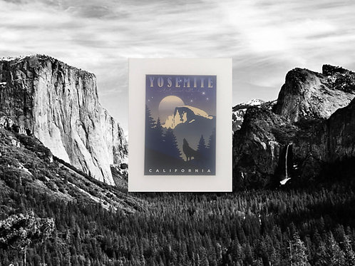 Night Time In Yosemite Print