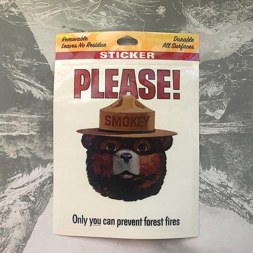 Smokey Bear Please! Sticker