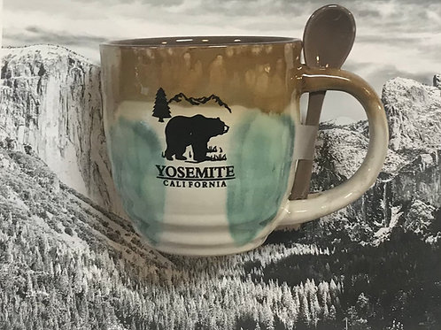 Yosemite Large Ceramic Mug with Spoon