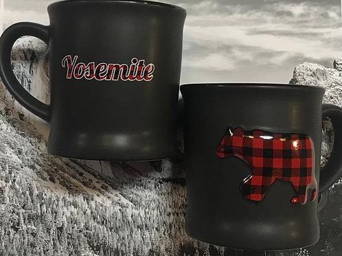 Yosemite Large Red Bear Black Mug