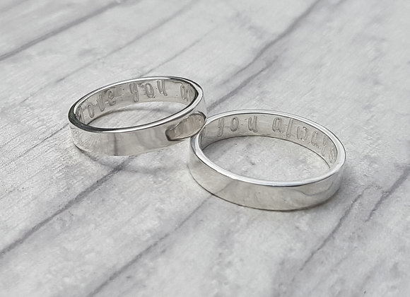 Sterling silver personalised wedding band