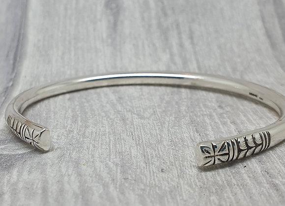 Sterling silver torque cuff bracelet